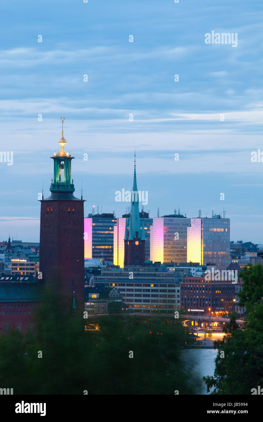sweden stockholm - town hall and city highrises during long summer night Stock Photo