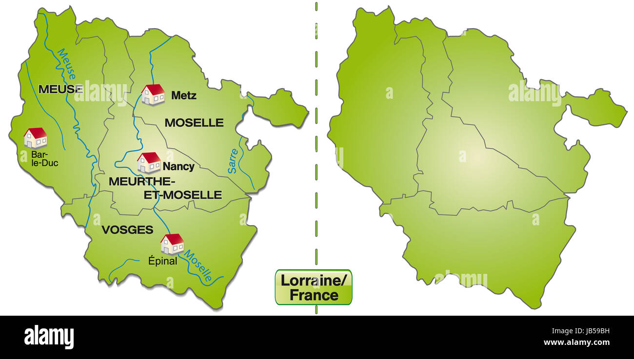 Lothringen Karte.Lothringen In Frankreich Als Inselkarte Mit Grenzen Diese