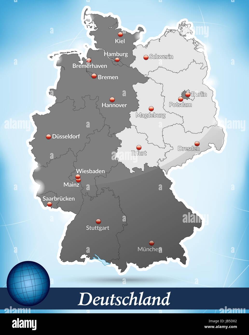 deutschlandkarte ost west Deutschland mit Unterteilung Ost/West als Inselkarte in Blau. Die