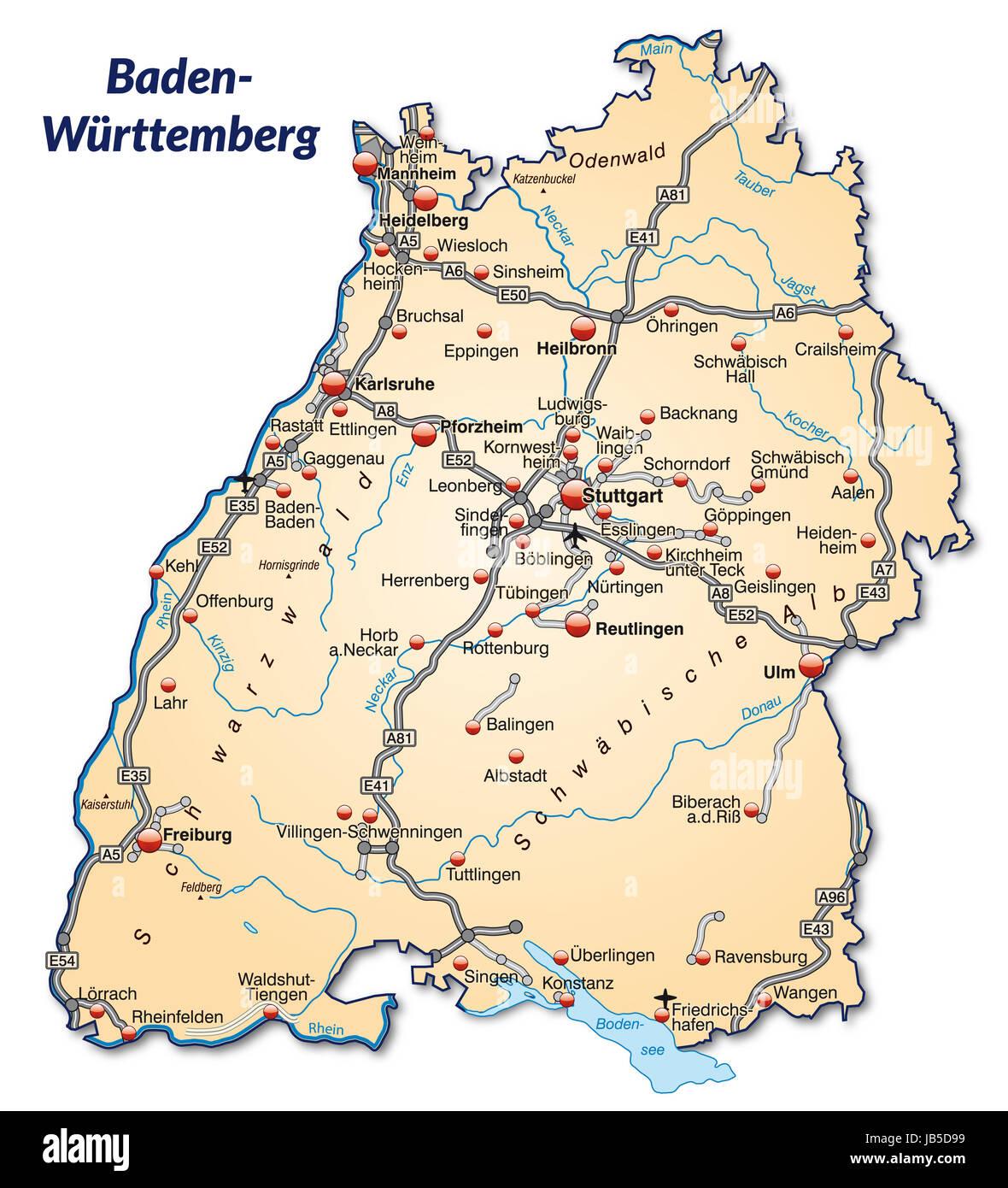 Baden Wurttembergkarte Stock Photos Baden Wurttembergkarte Stock