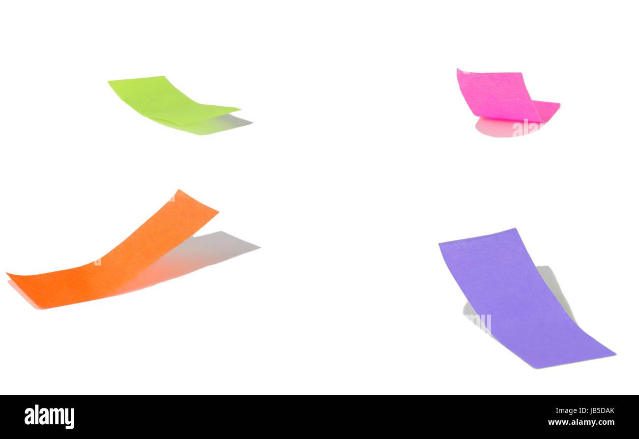 Vier Buchmarker auf weiß mit Schatten - Stock Image