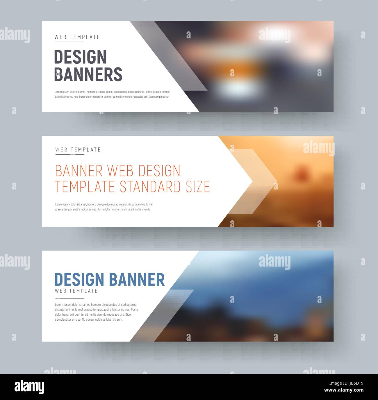design of standard horizontal web banners with space for photo and