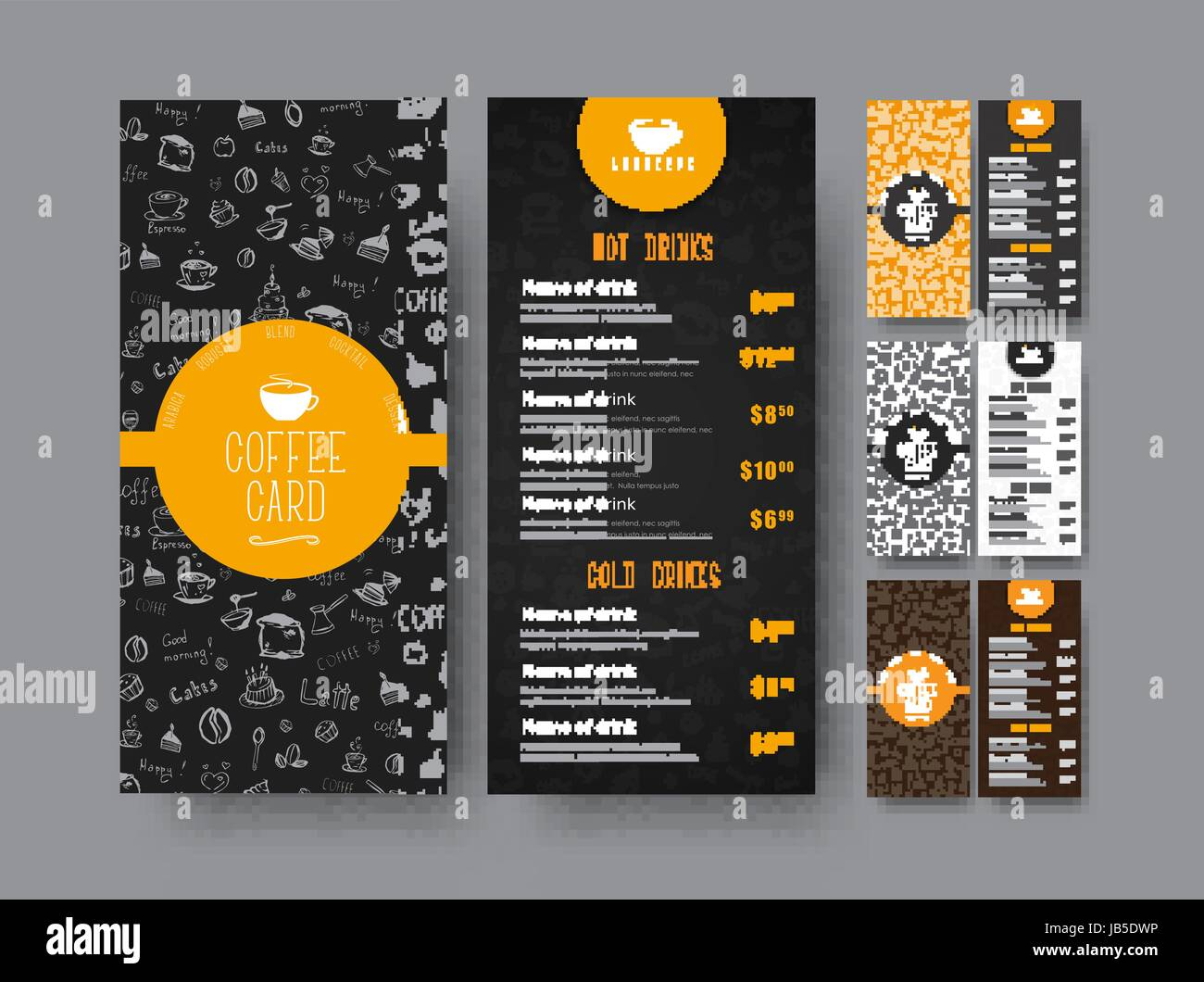 template of the coffee menu for a cafe or restaurant design