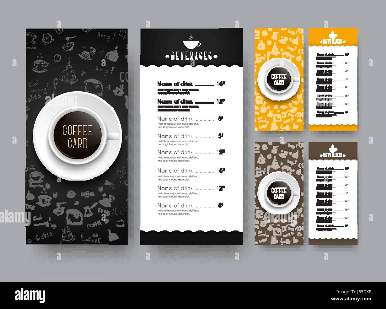 Design of a narrow menu for cafe or restaurant