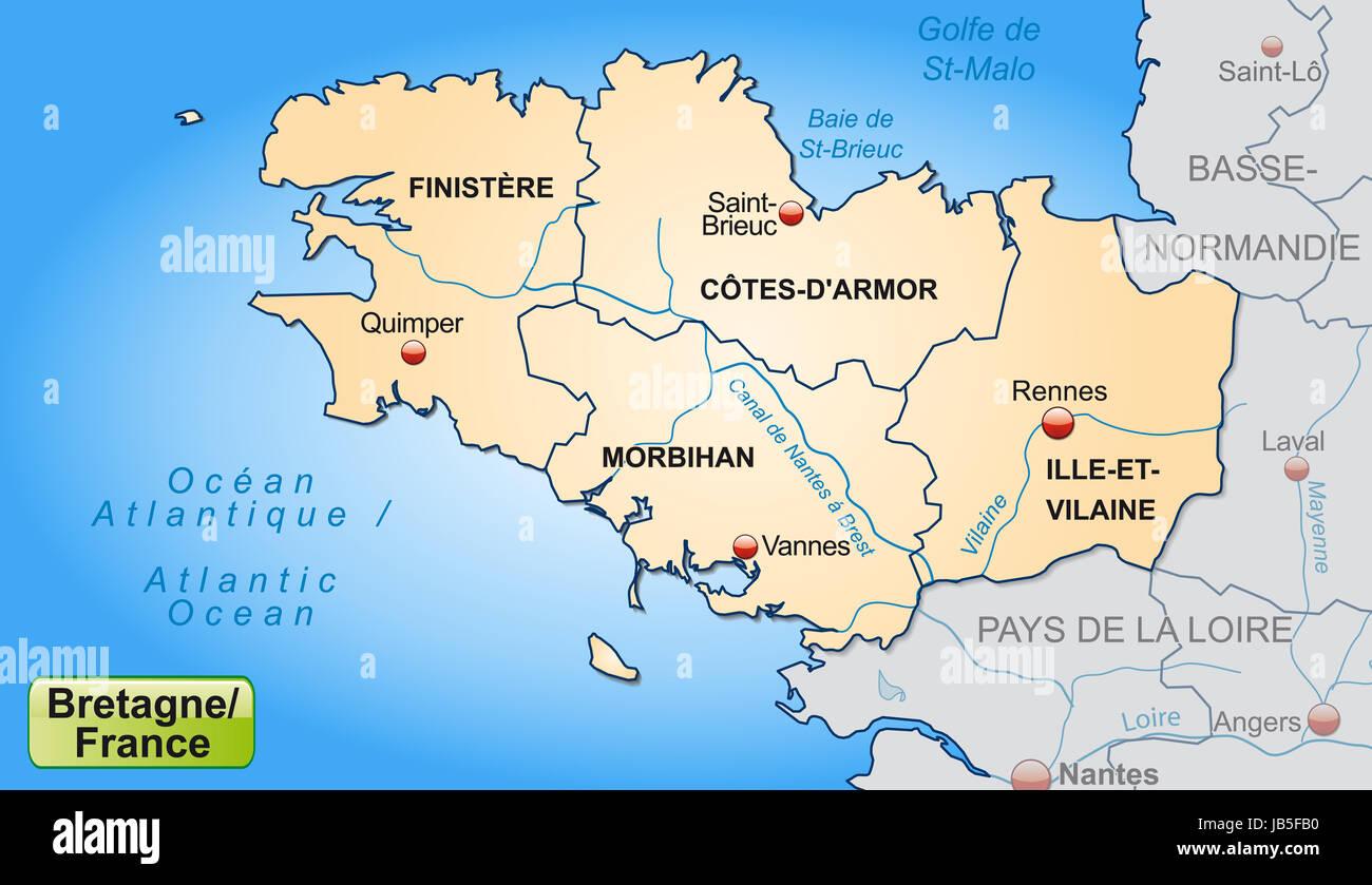 Bretagne In Frankreich Als Umgebungskarte Mit Nachbarlandern Mit