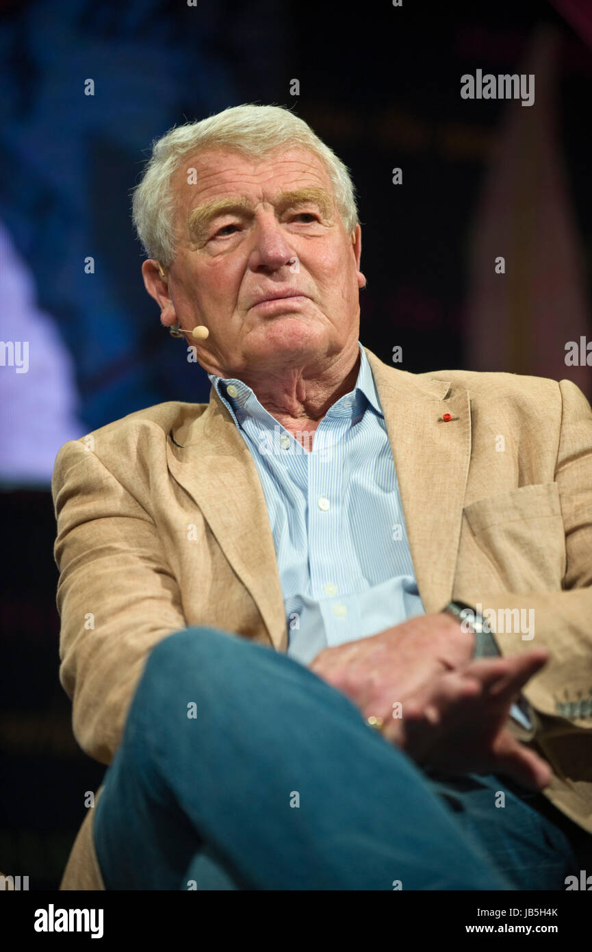 Paddy Ashdown British politician diplomat and author speaking on stage at Hay Festival of Literature and the Arts - Stock Image