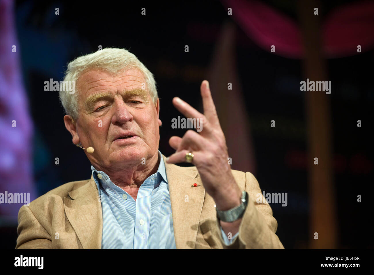 Paddy Ashdown British politician diplomat and author speaking on stage at Hay Festival of Literature and the Arts Stock Photo