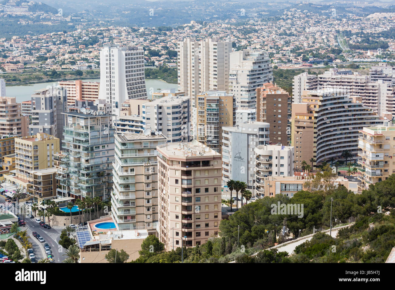 skyscrapers in the city of calp calpe on the spanish mediterranean