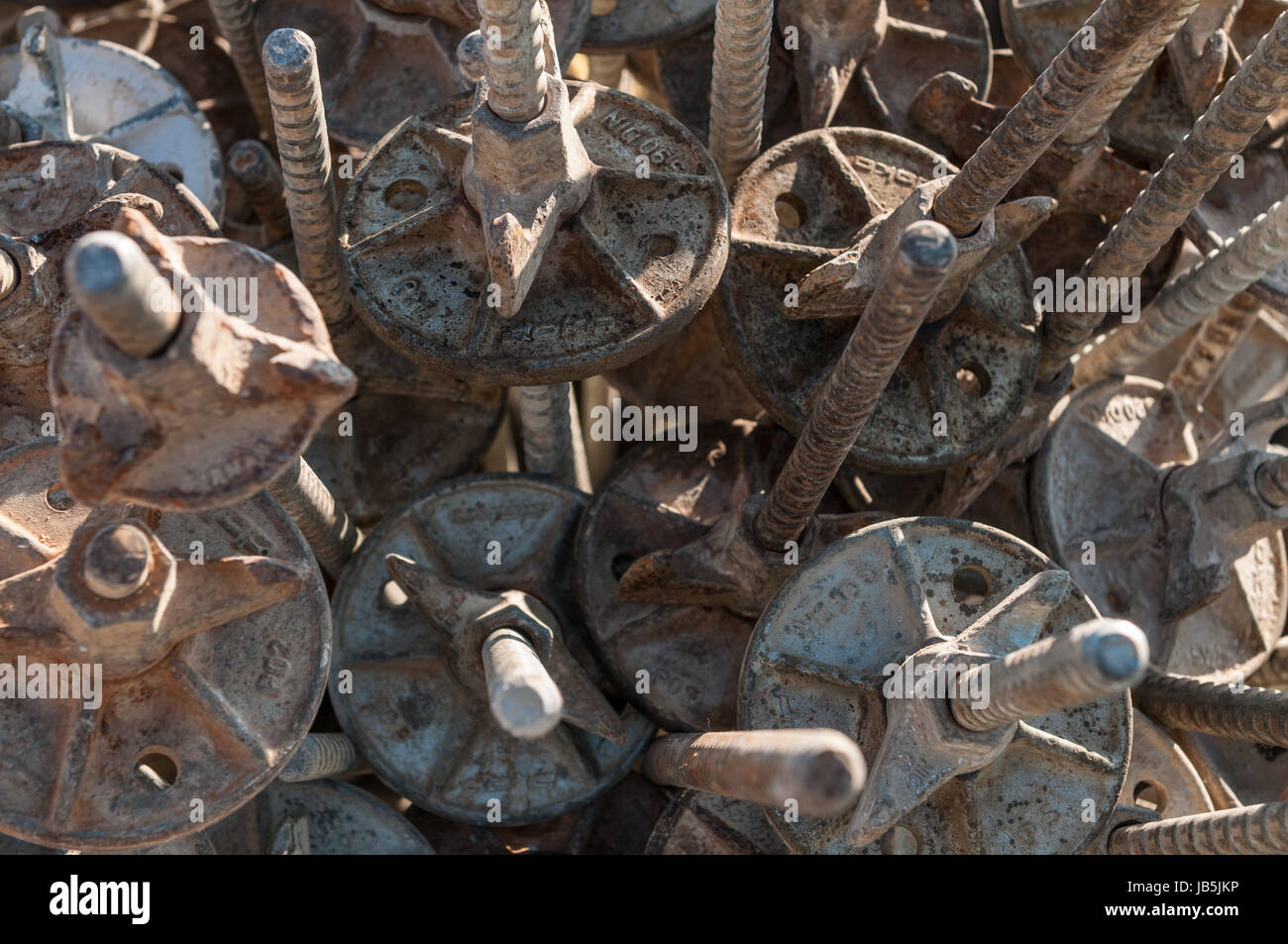 spacers and steel bars for the reinforcement - Stock Image