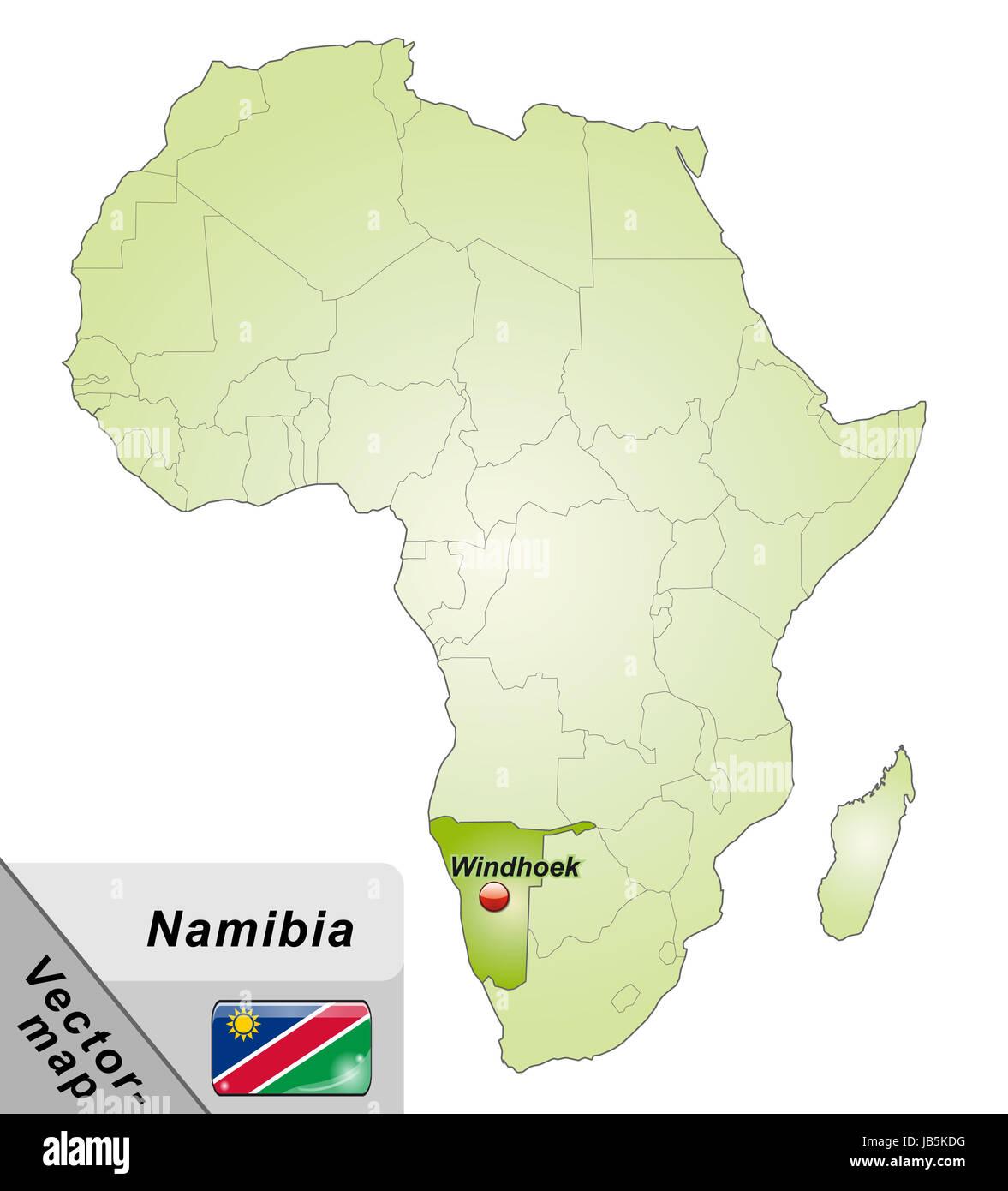 Namibia In Afrika Als Inselkarte In Grun Durch Die Ansprechende