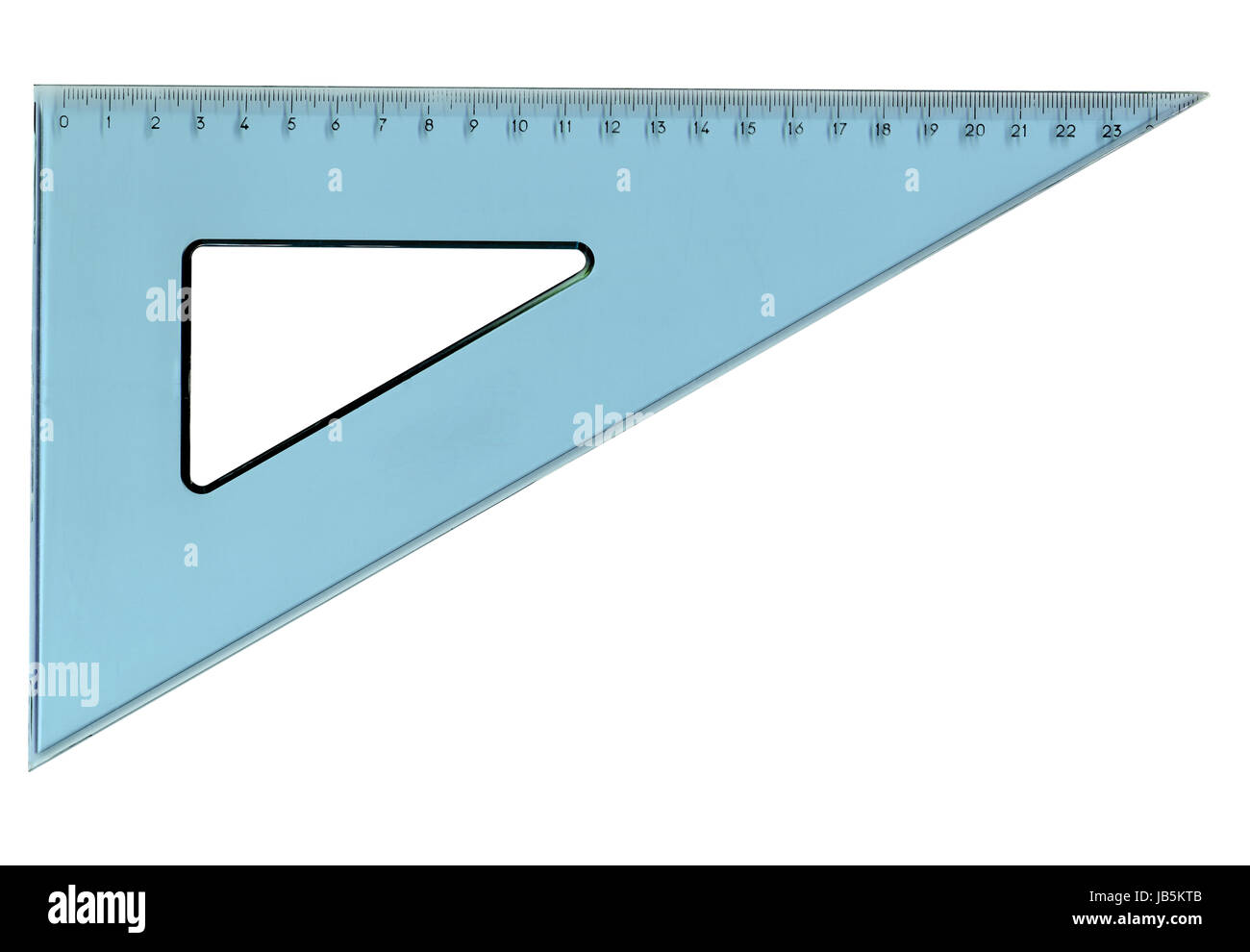 Set square triangle used in engineering and technical drawing - Stock Image