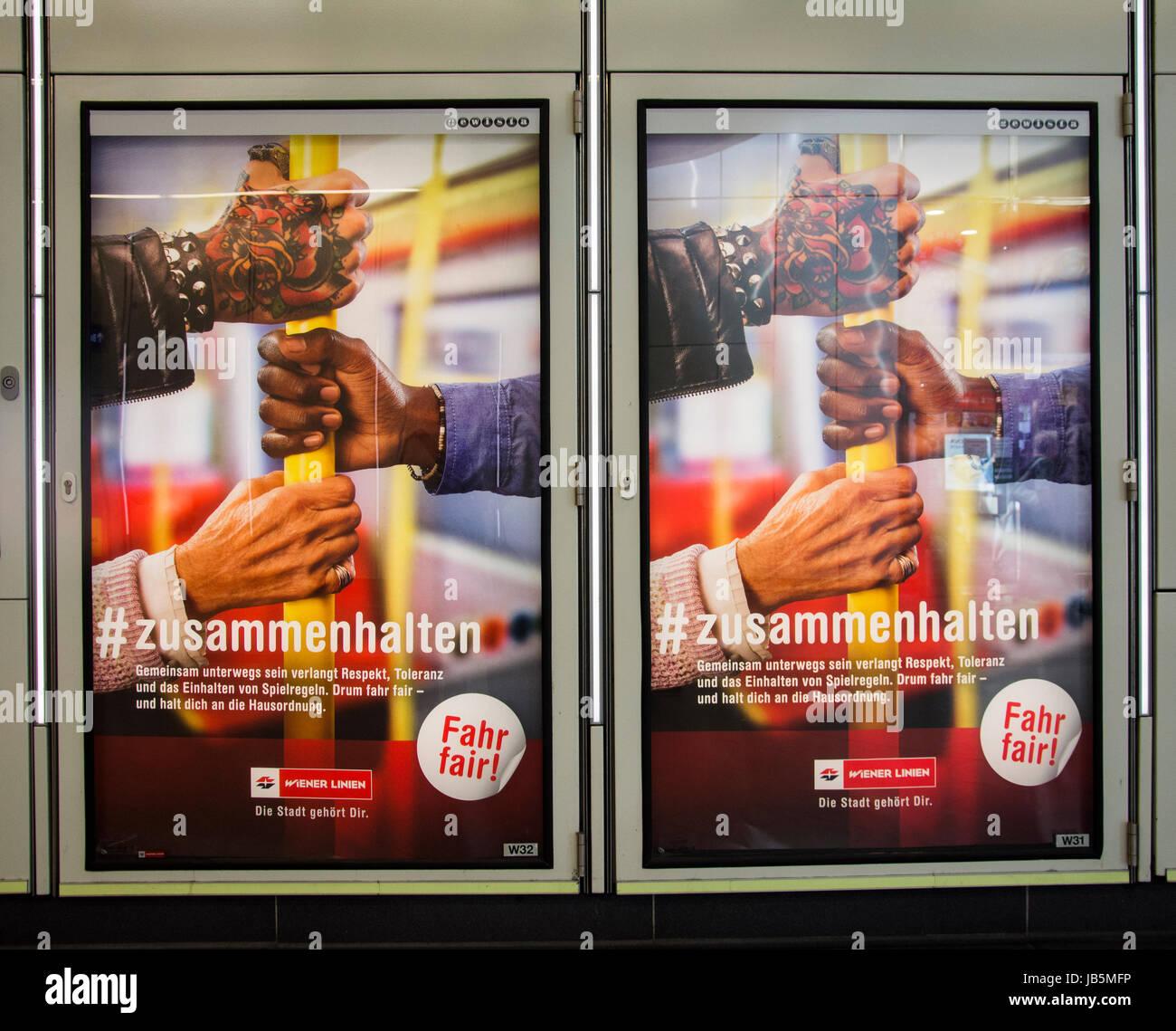 Billboards promoting tolerance and diversity on the U-Bahn underground railway system in Vienna, Austria - Stock Image