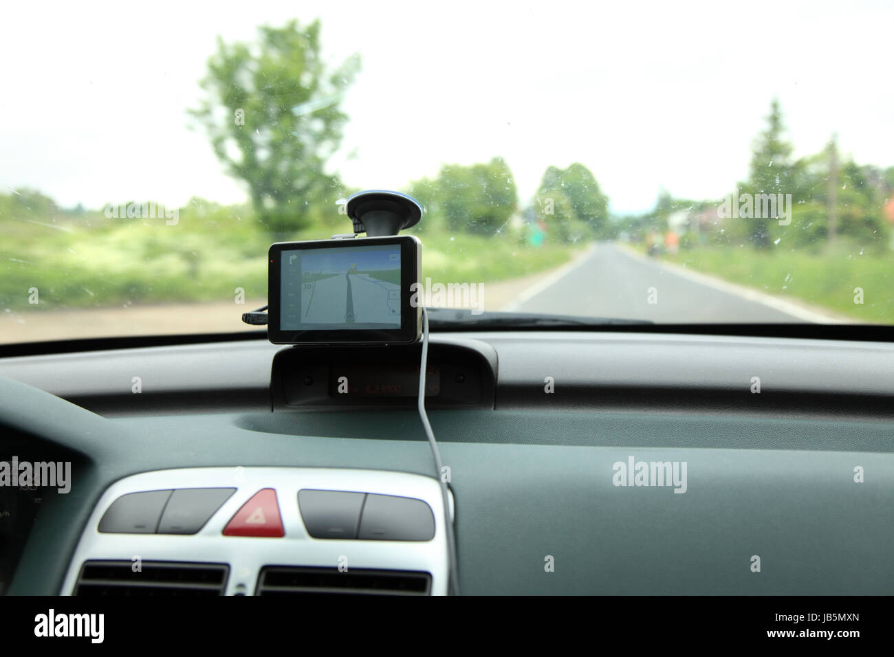 car dashboard and satelite navigation system auto gps panel device - Stock Image