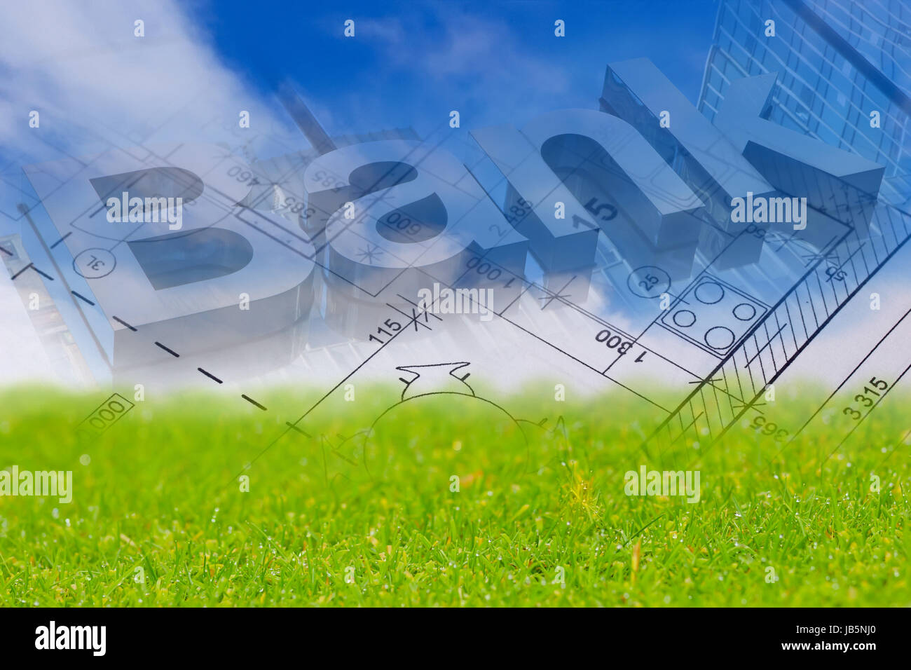 Background with blue sky, green land, blueprint of a house and bank sign - Stock Image