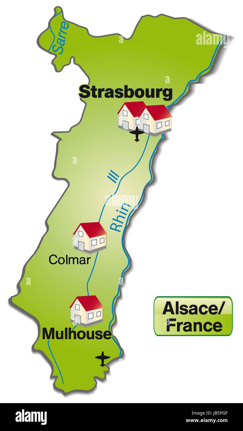 Elsass Karte Frankreich.Elsass In Frankreich Als Inselkarte Das Dagestellte Gebiet