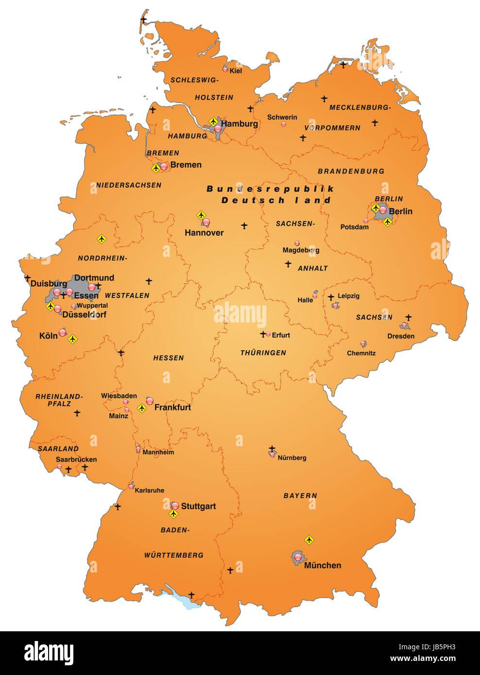 Die Karte Ist Modern Gestaltet Und Enthalt Die Bundeslander Sowie