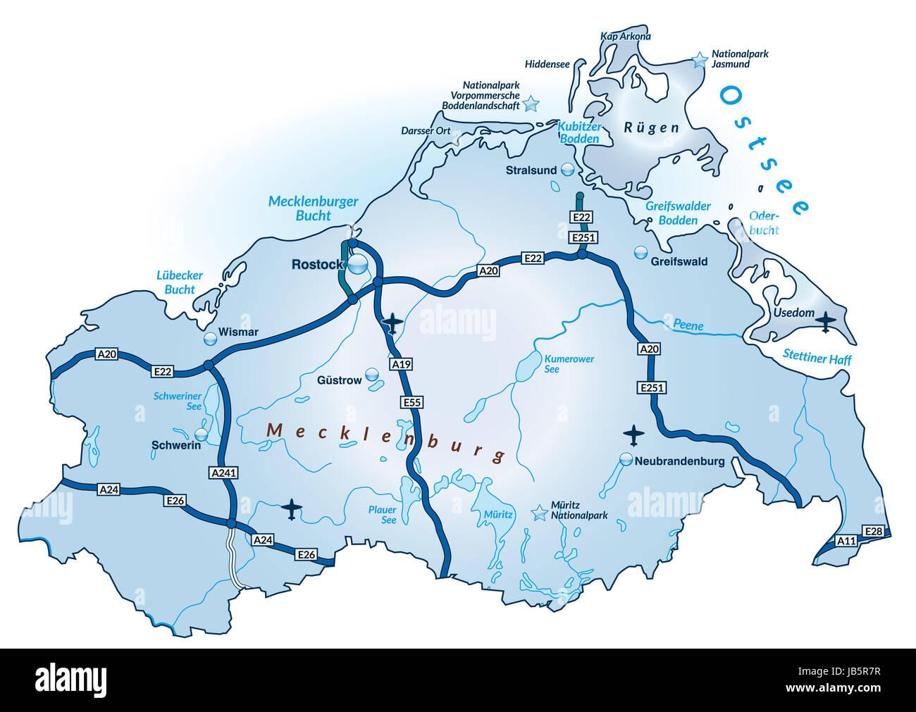 Die Karte ist modern gestaltet und enthält alle wichtigen Topographischen Informationen. Städte, Gewässernetz, - Stock Image