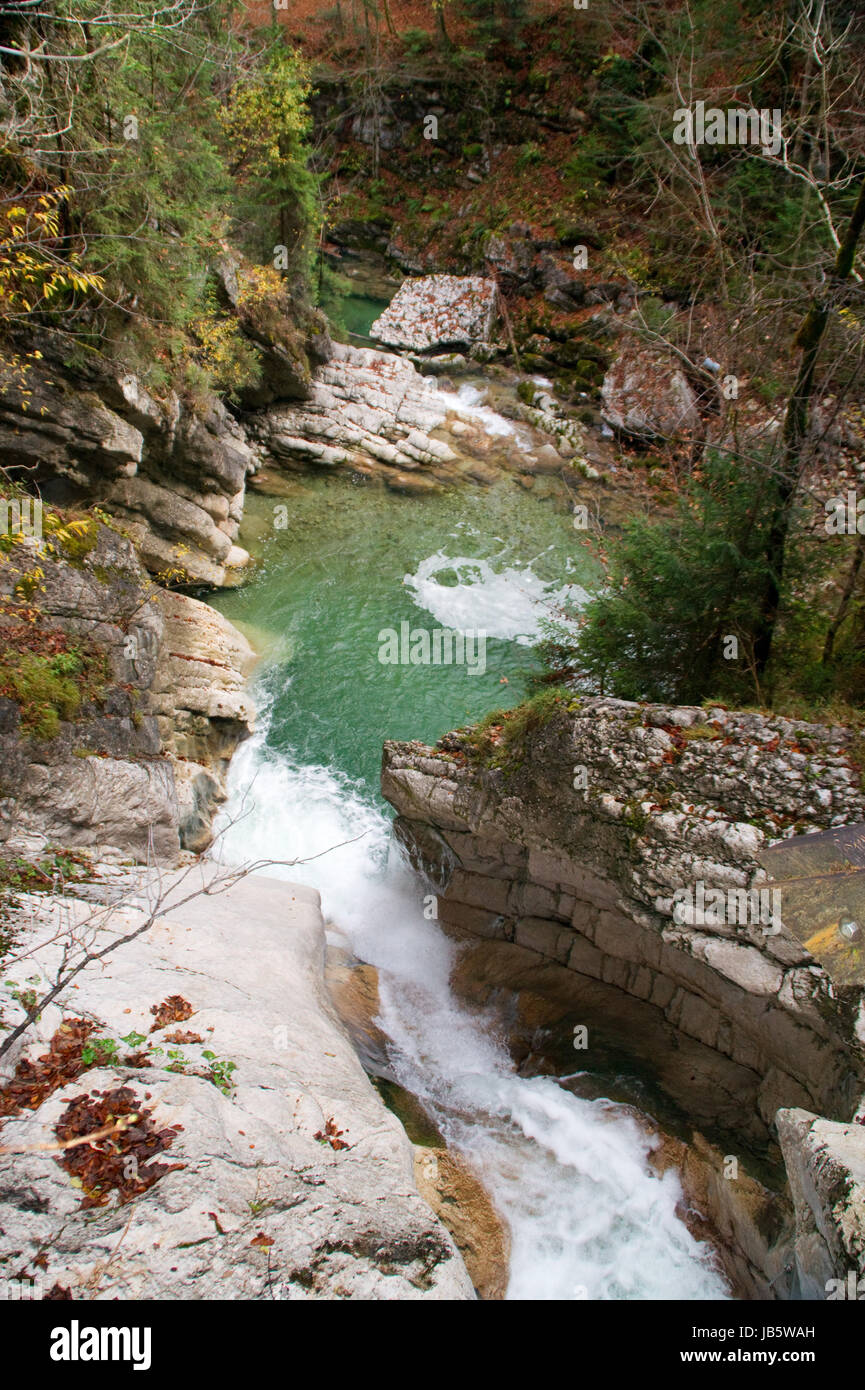 waterfall,catch basin,tatzelwurm,bayrischzell,mountains,rocks,river,spray,autumn - Stock Image
