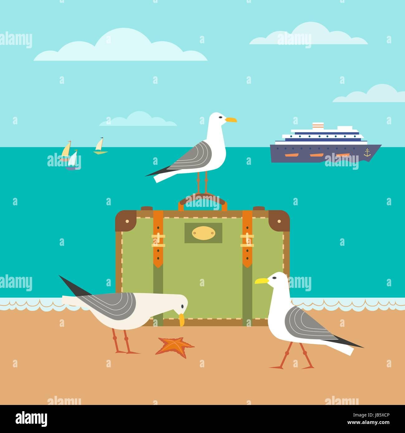 Nautical poster concept seagulls on sandy beach hand drawn cartoon seagulls on sandy beach hand drawn cartoon style seaside vacation design element retro vintage seashore scene marine vess voltagebd Choice Image