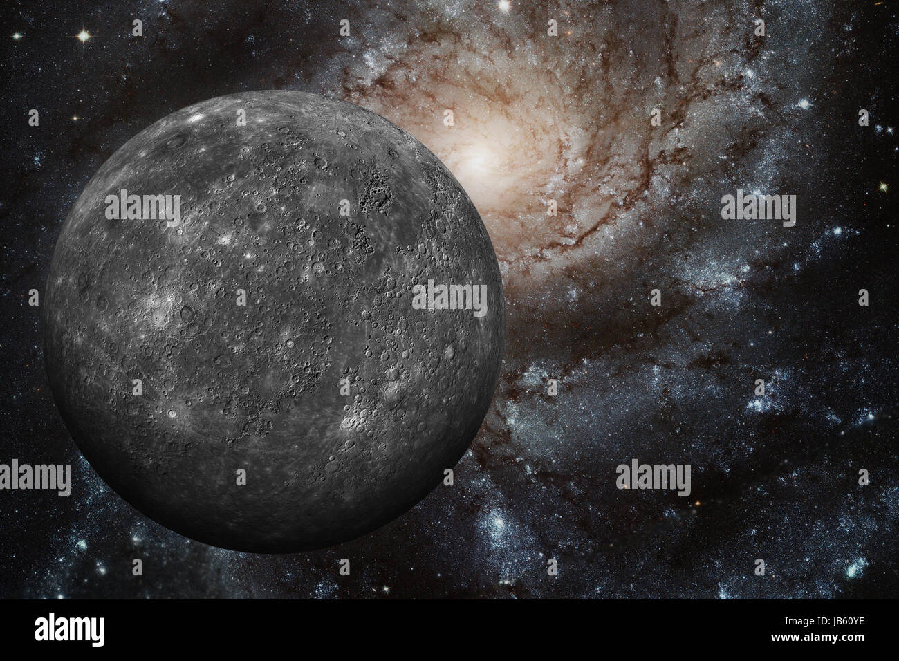 Solar System - Mercury. It is the smallest and closest to the Sun of the eight planets in the Solar System, with - Stock Image