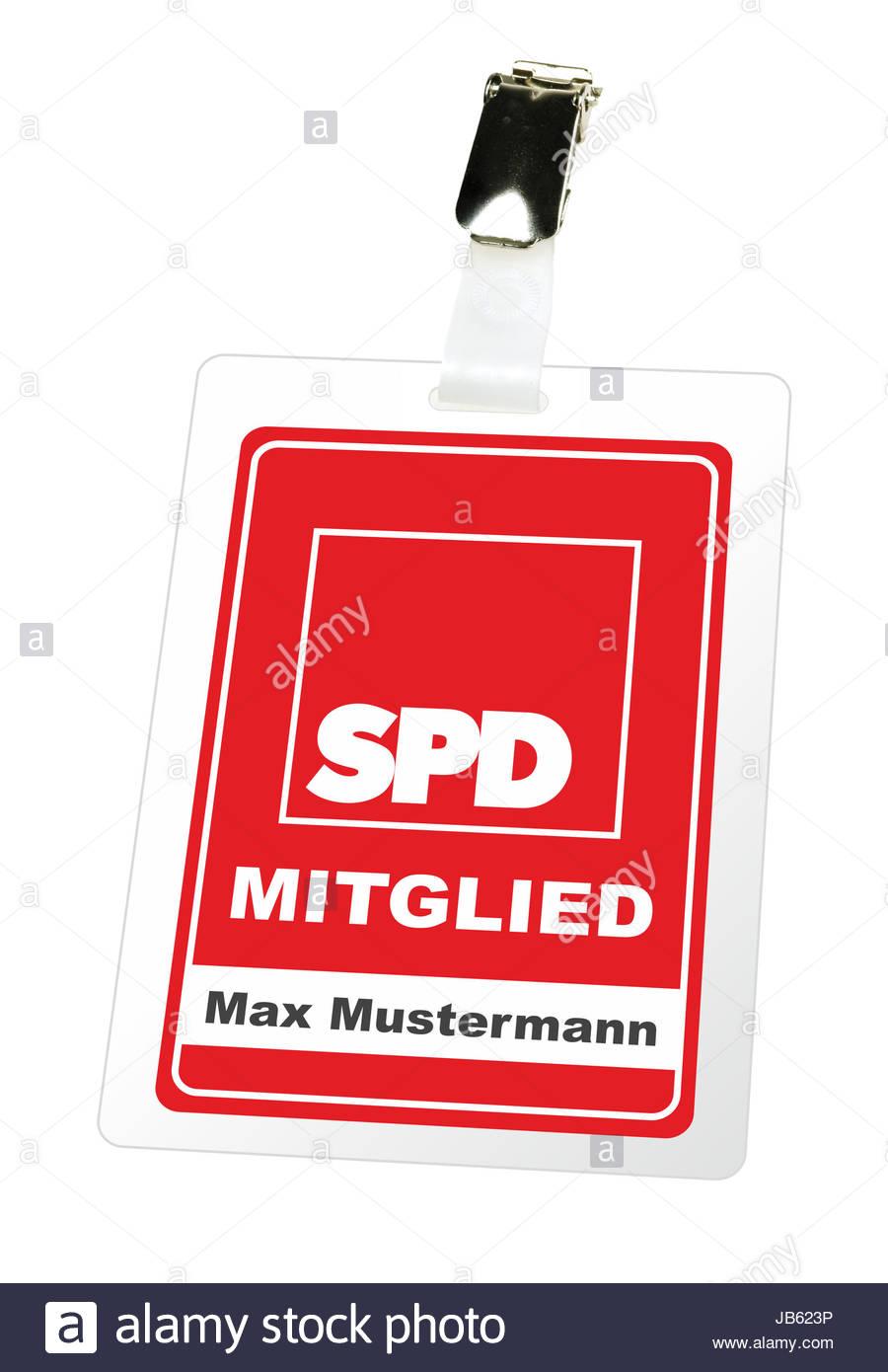 Illustrierte Darstellung eines Mitgliedsausweises der SPD mit einem Clip von Max Mustermann. - KEIN ORIGINAL AUSWEIS - Stock Image