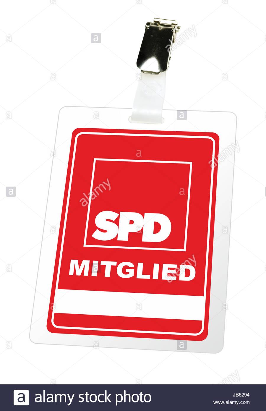 Illustrierte Darstellung eines Mitgliedsausweises der SPD mit einem Clip und einem Freifeld fuer Namen. - KEIN ORIGINAL - Stock Image