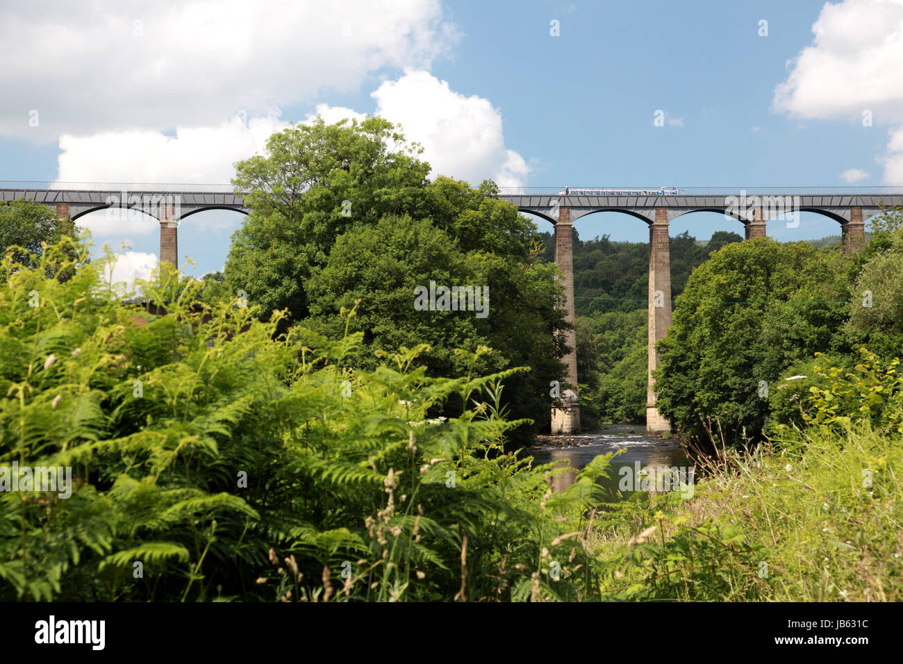 Pontcysyllte Aqueduct which carries the Llangollen Canal over the river Dee in north Wales seen from Trevor - Stock Image