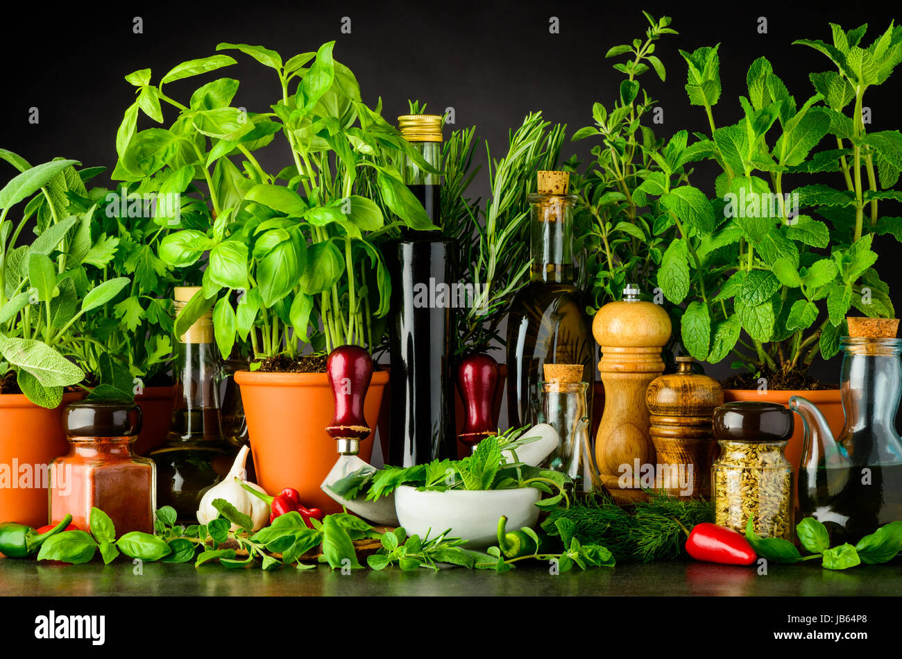 Sill Life with Cooking Ingredients, Fresh Green Basil and Parsley Herbs, Pestle and Mortar with Mezzaluna Herb Chopper - Stock Image