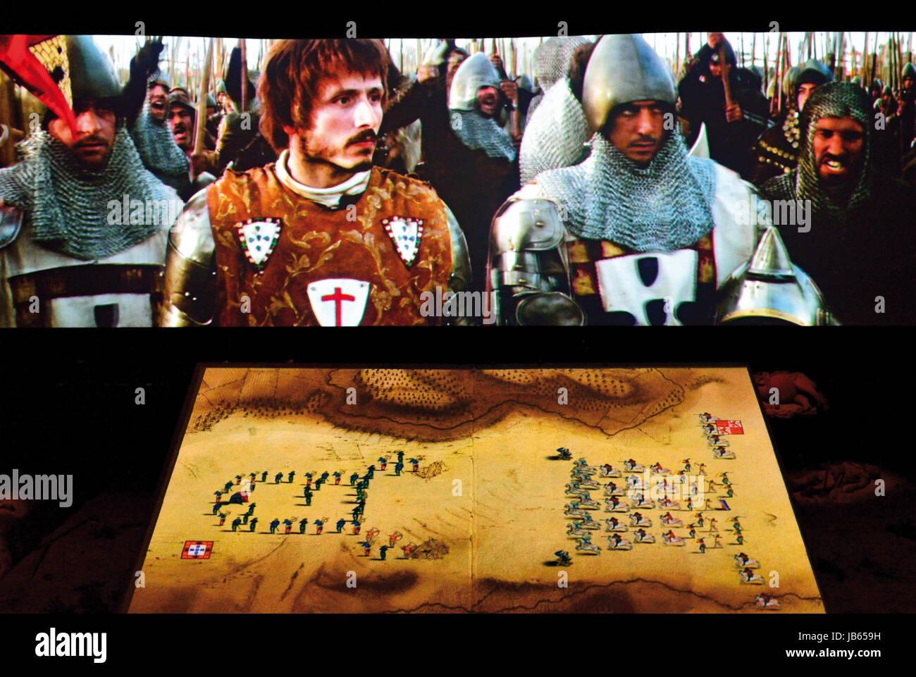 Scene of a movie abotu the historic battle of Aljubarrota in the Interpretation Centre of Aljubarrota Battle near - Stock Image