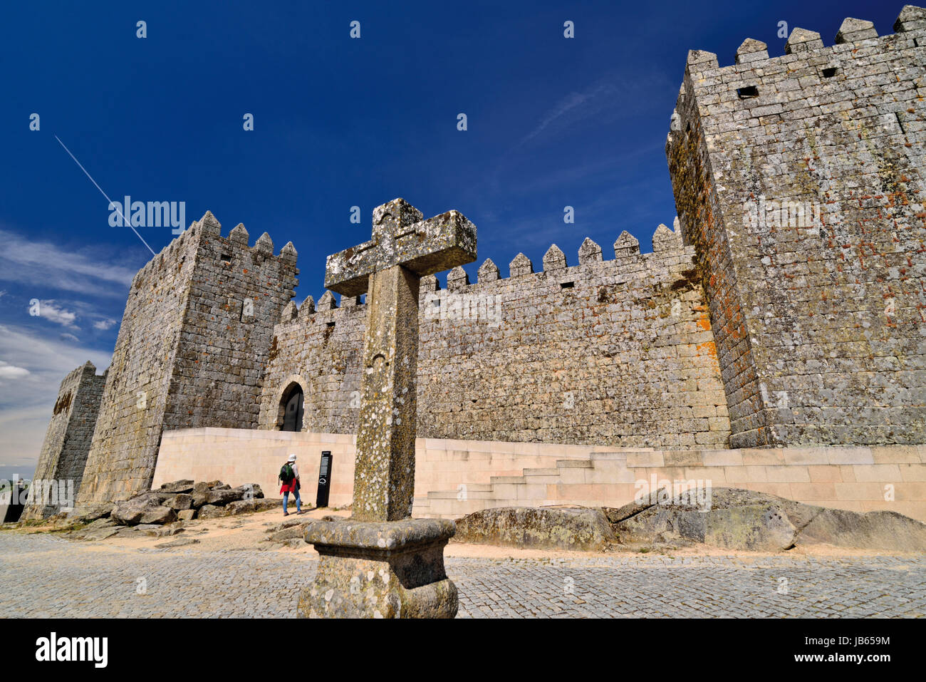 Portugal: External view of 11th century castle of historic village Trancoso - Stock Image