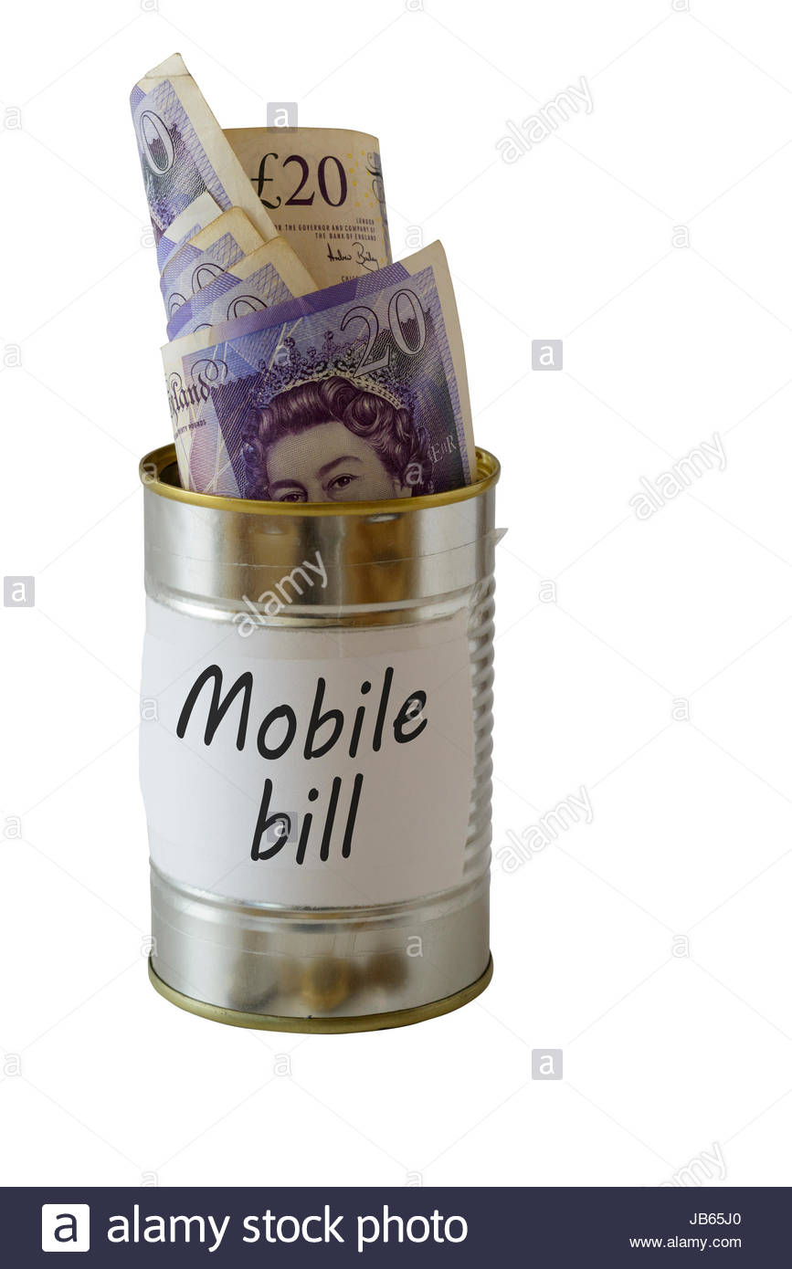 Mobile bill, cash kept in a tin can, England, UK - Stock Image