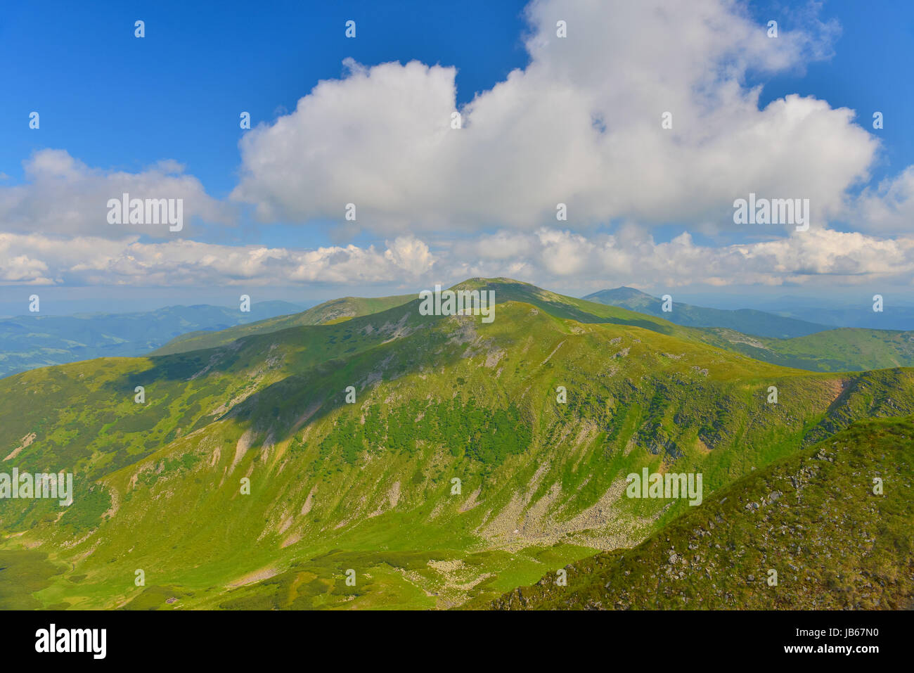 View a summer mountain . - Stock Image