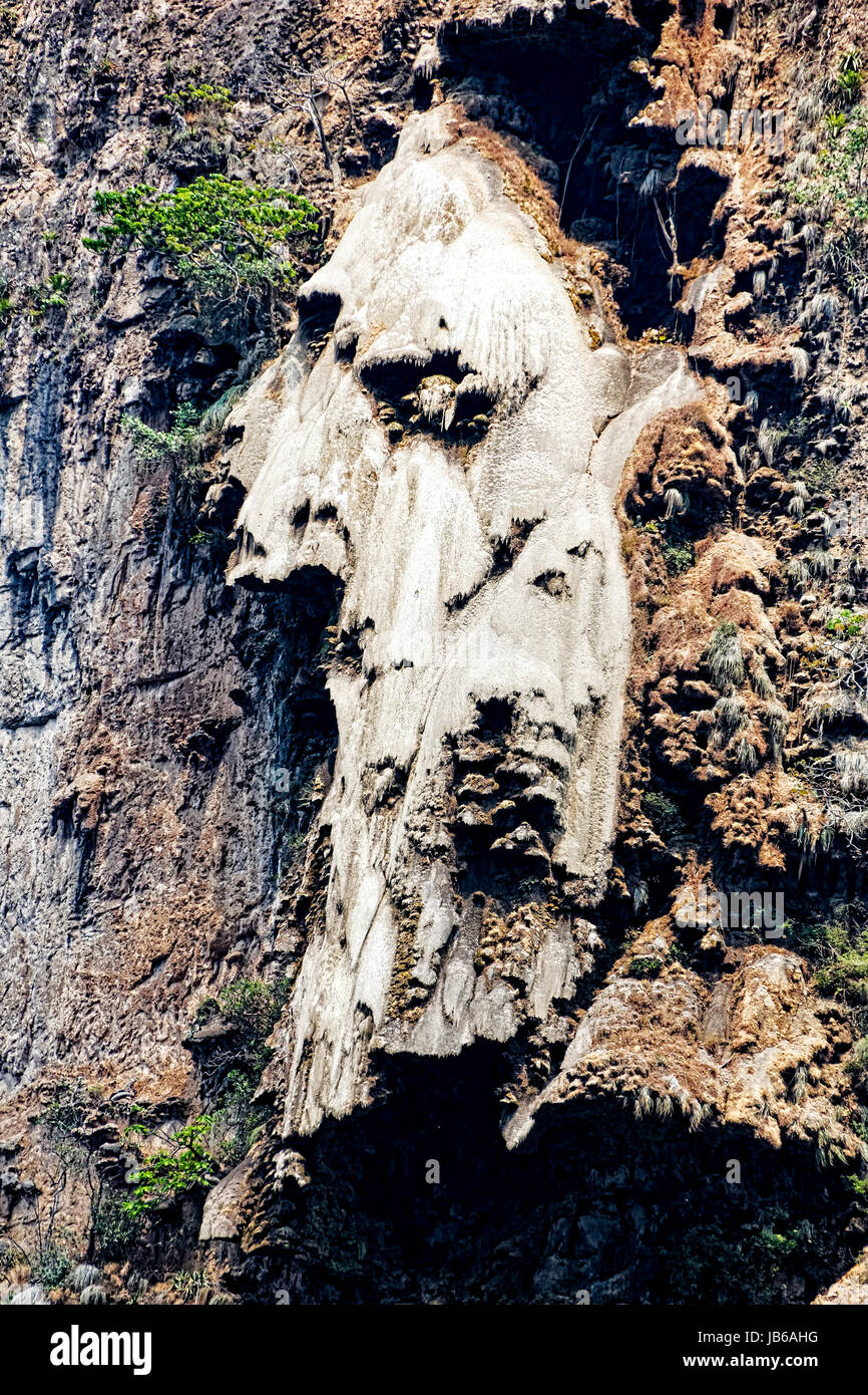 On the high walls of  Sumidero Canyon, in Chiapas, Mexico, are a number of stalactites have formed strange shapes - Stock Image