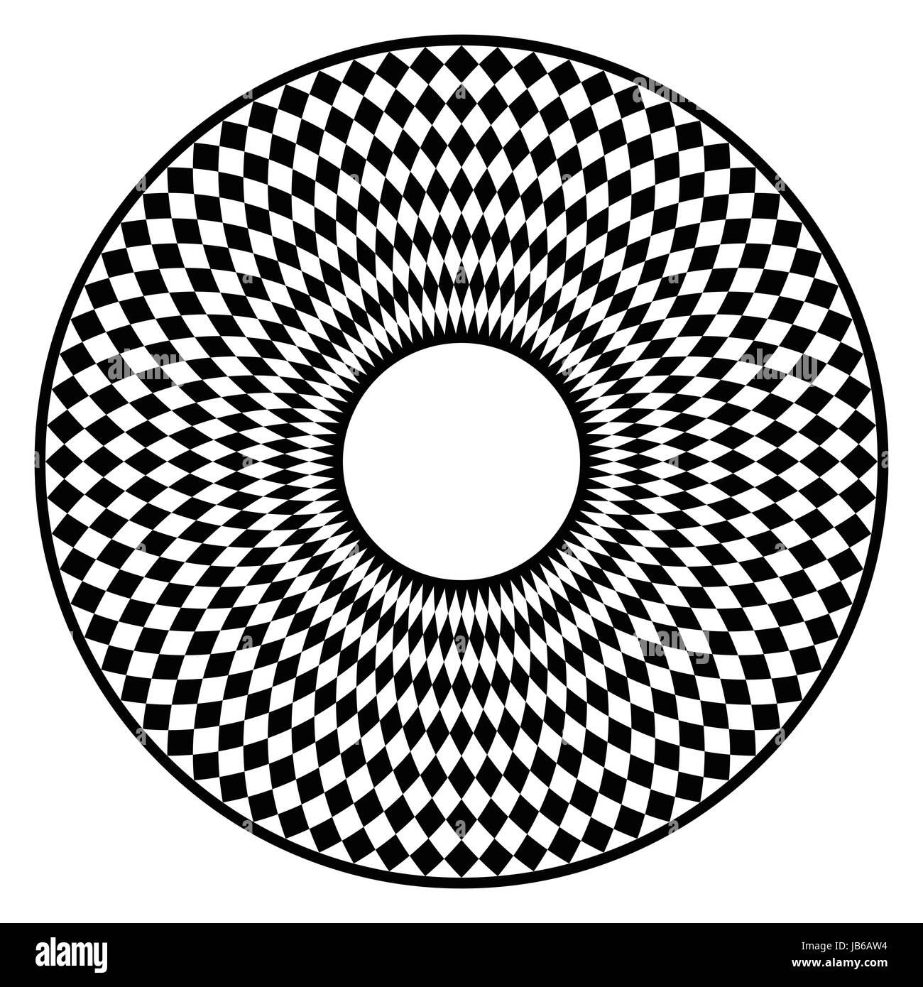 Circular checkerboard pattern. Disc with black chequered pattern in a circle with rhomboid tiling. Creates an optical - Stock Image