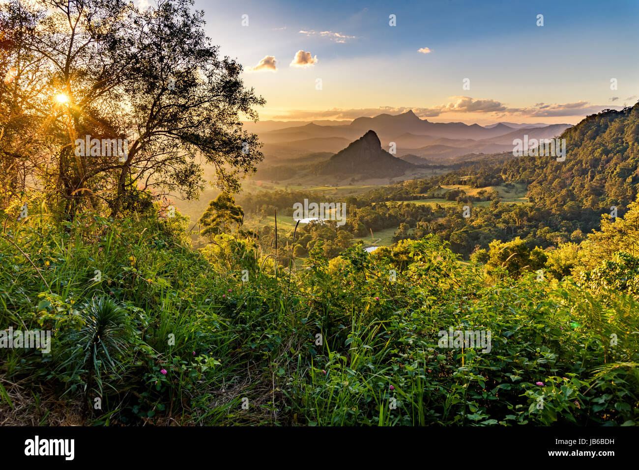 Doughboy Hill and Mount Warning. View from Walls of Jerusalem National Park, New South Wales - Stock Image