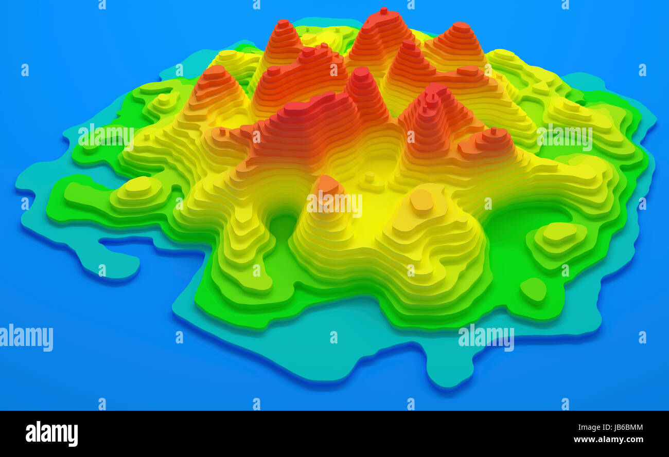 Topographical map of an island, illustration. - Stock Image