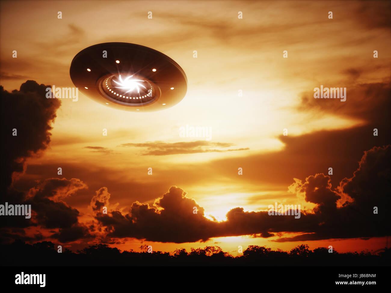 Ufo in sky, backlit, illustration. - Stock Image