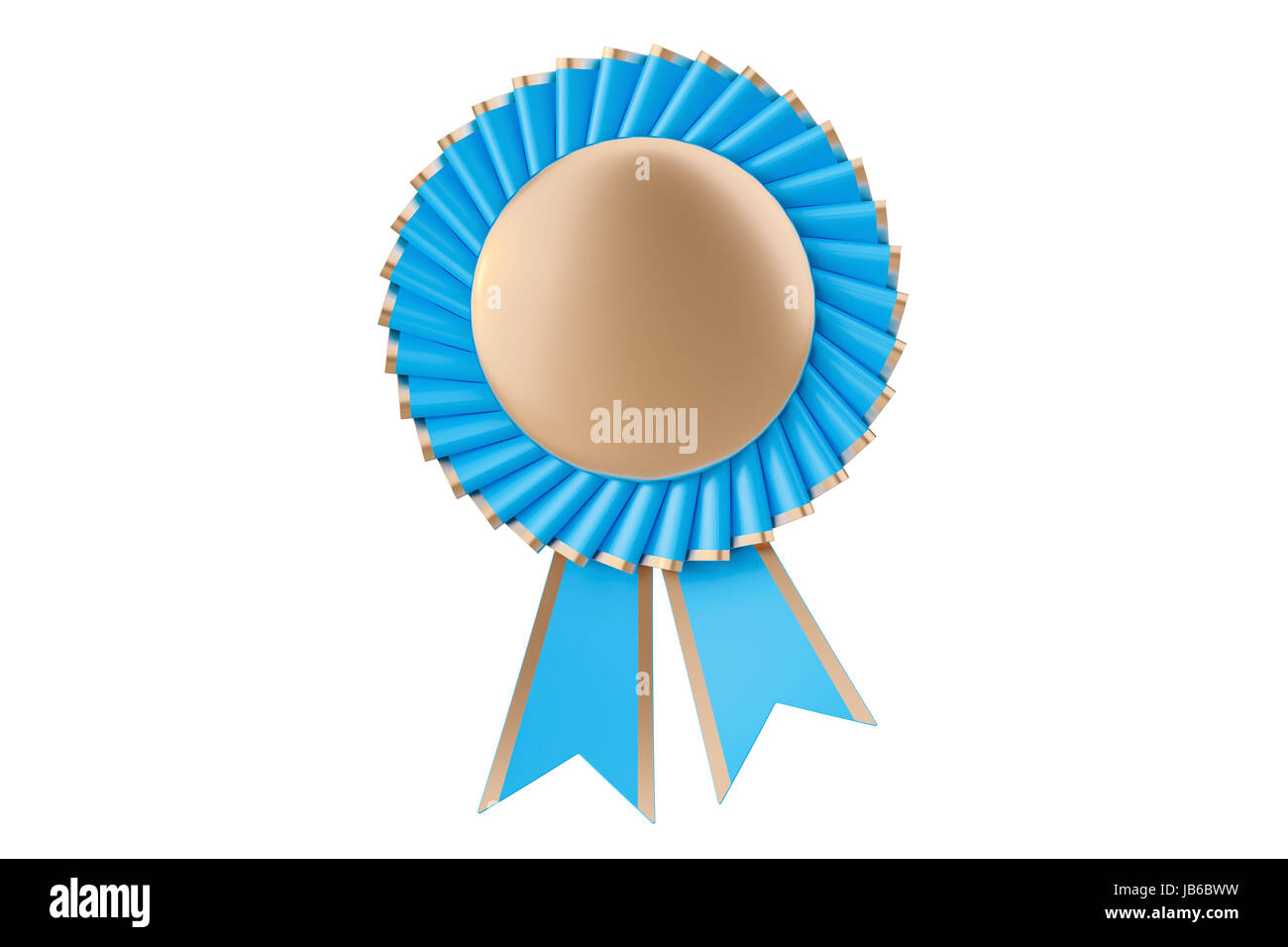 Blue winning award, prize, medal or badge with ribbons. 3D rendering isolated on white background - Stock Image