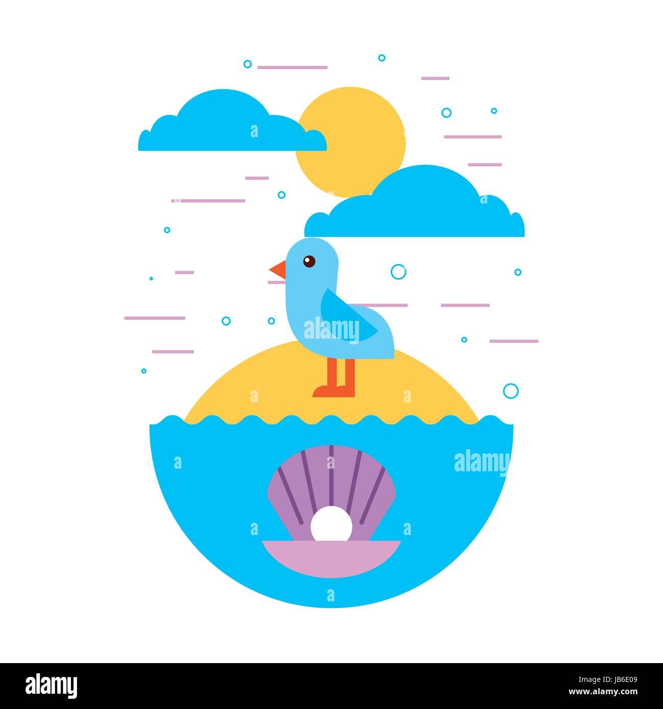 sea life flat draw - Stock Image