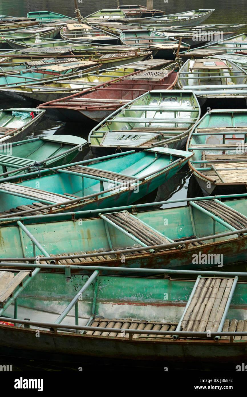 Boat harbour at Ninh Hai for Tam Coc boat trips, Ninh Binh, Vietnam - Stock Image
