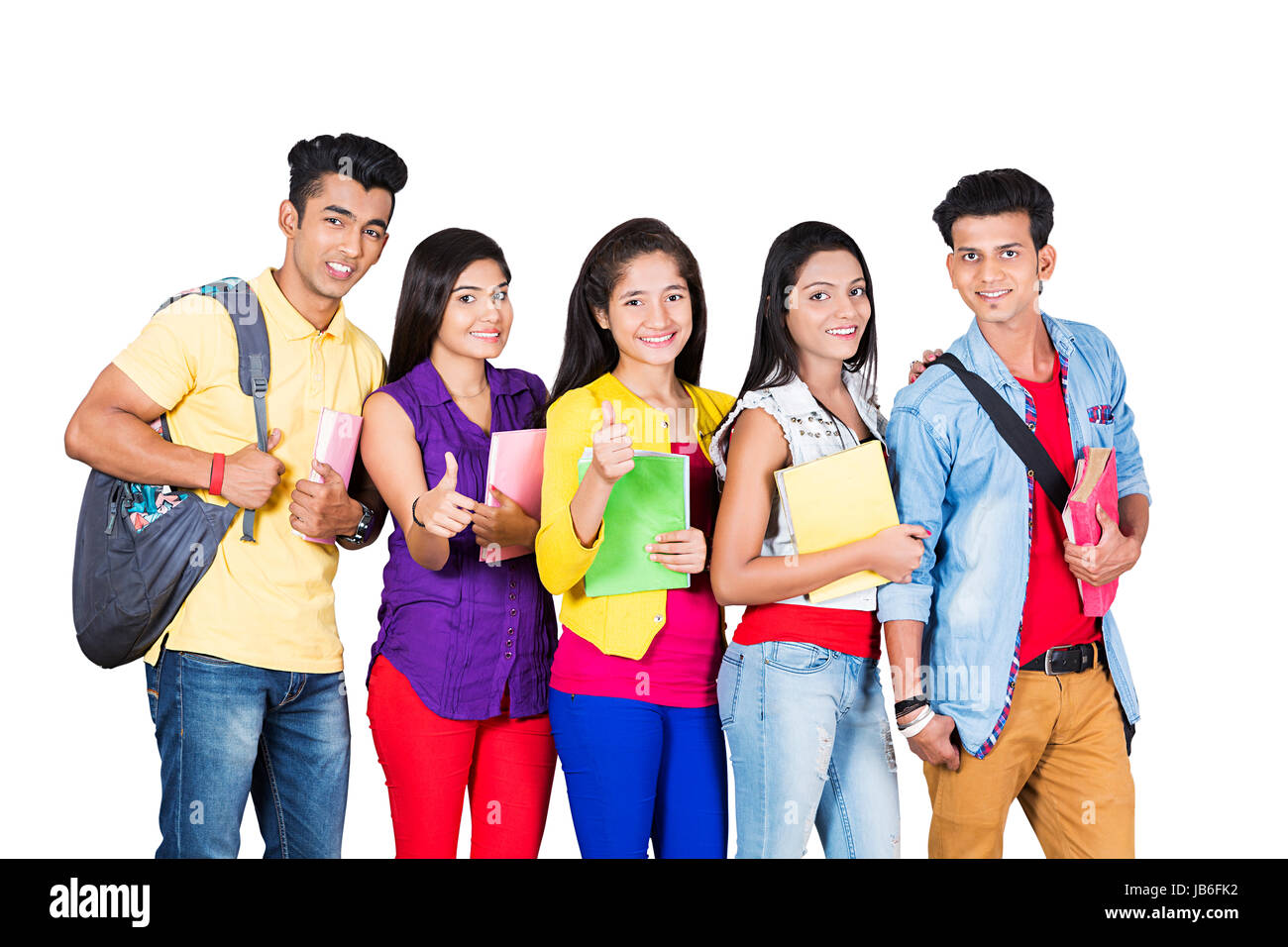 5 People Indian College Boys and Girls Standing Together