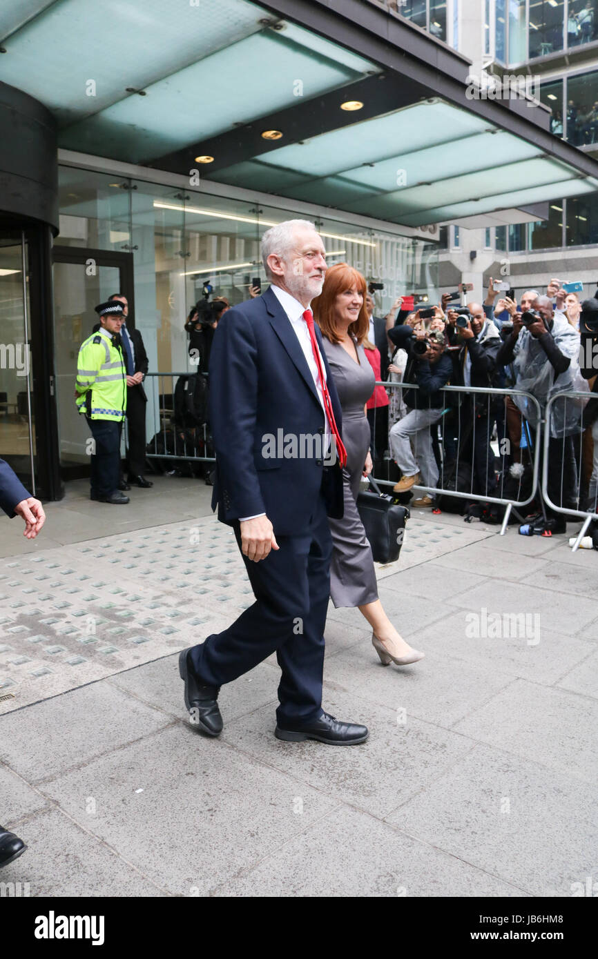 London UK. 9th June 2017. Labour leader Jeremy Corbyn leaves party Headquarters in London after securing better - Stock Image