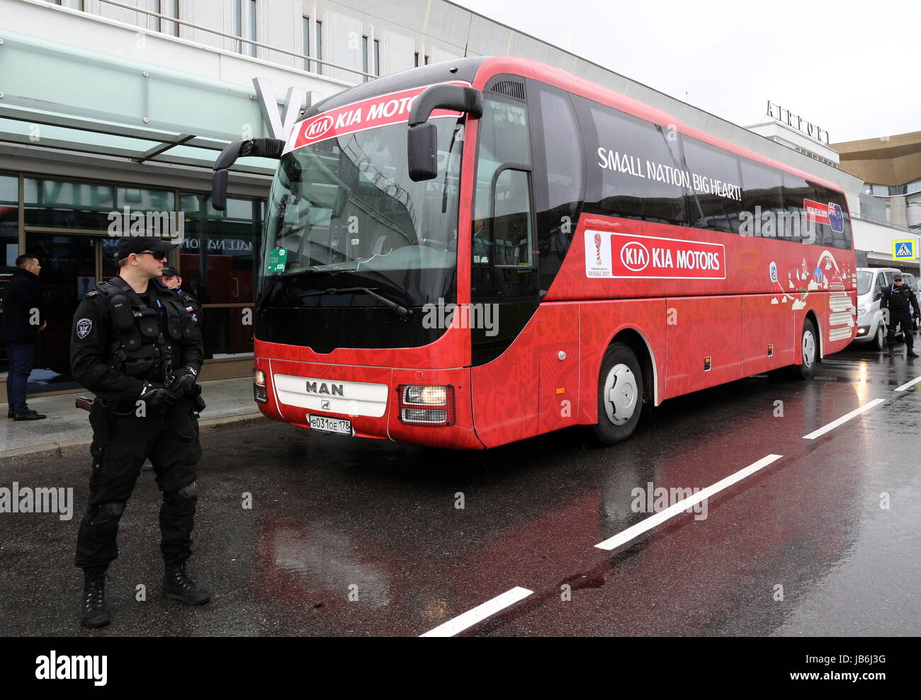 d94ecb99f St Petersburg, Russia. 9th June, 2017. A bus for the New Zealand national  football team who arrives at Pulkovo International Airport for the 2017 ...