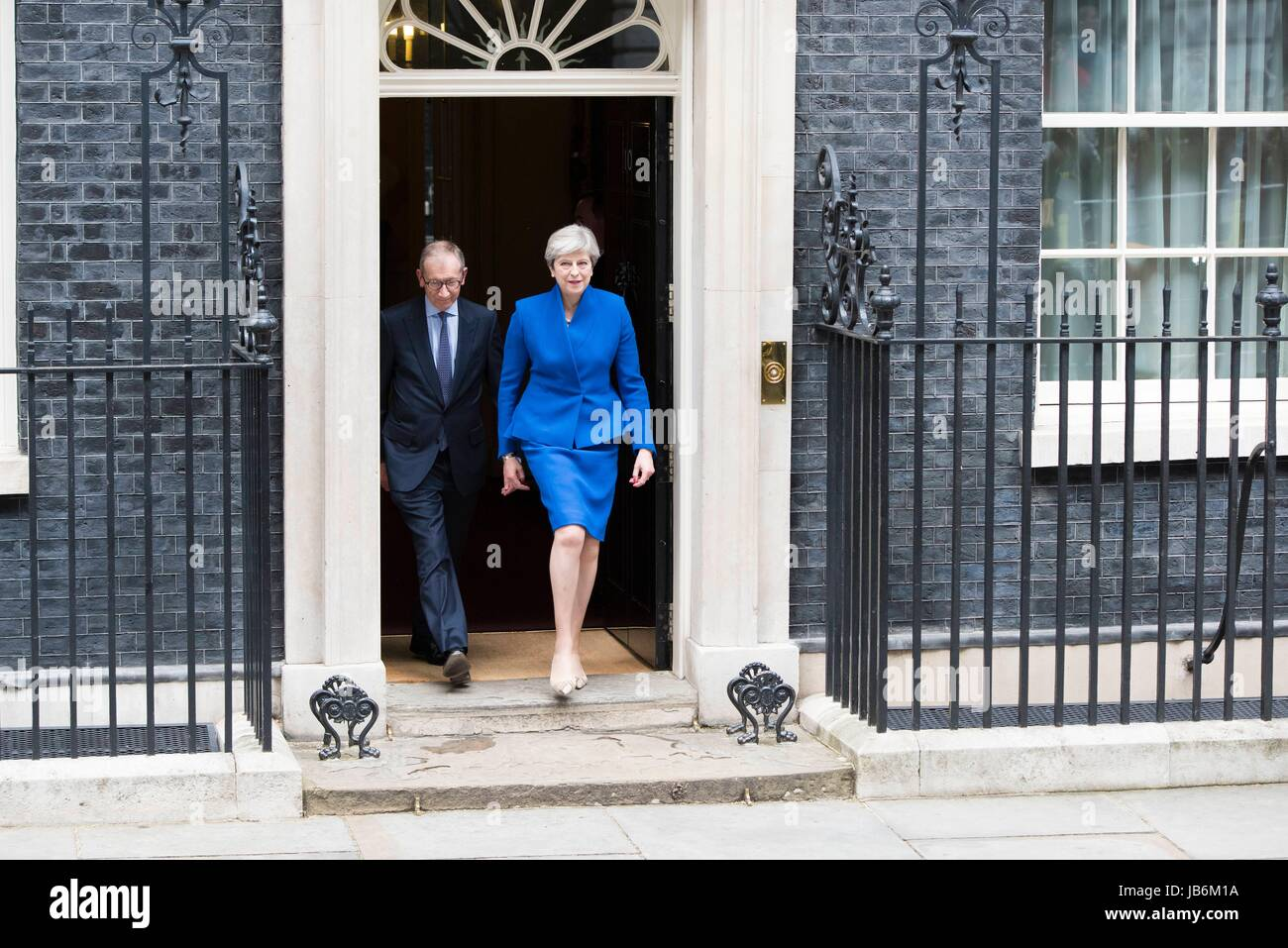 London, UK. 9th Jun, 2017. A hung parliament as May fails to win majority. Prime Minister and Conservative Party Stock Photo