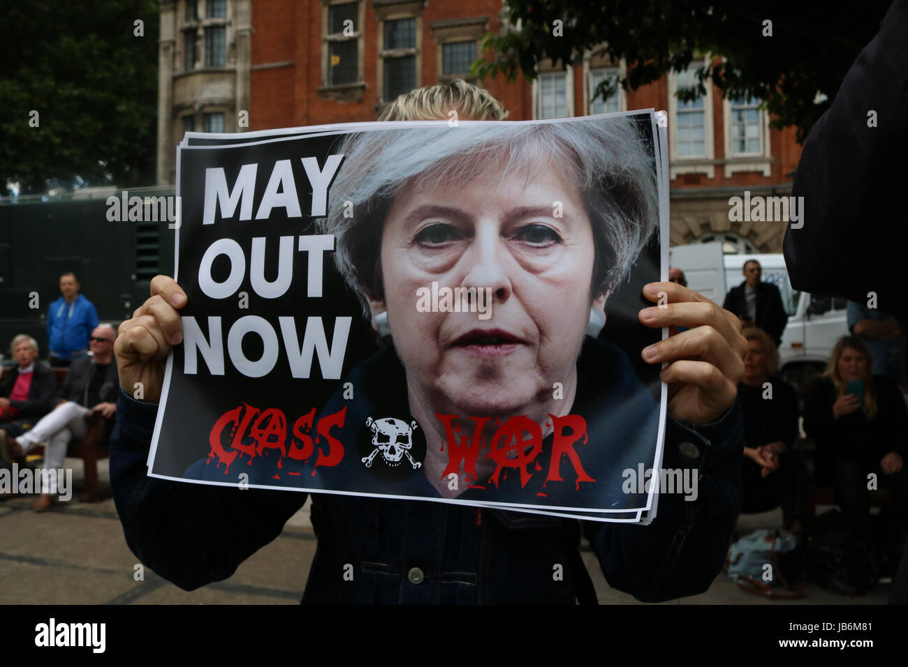 London UK. 9th Jun, 2017. A group Anti Theresa May protesters from Class War in Westminster following the general election result where the Conservative party did worse than forecast resulting in a hung parliament Credit: amer ghazzal/Alamy Live News Stock Photo