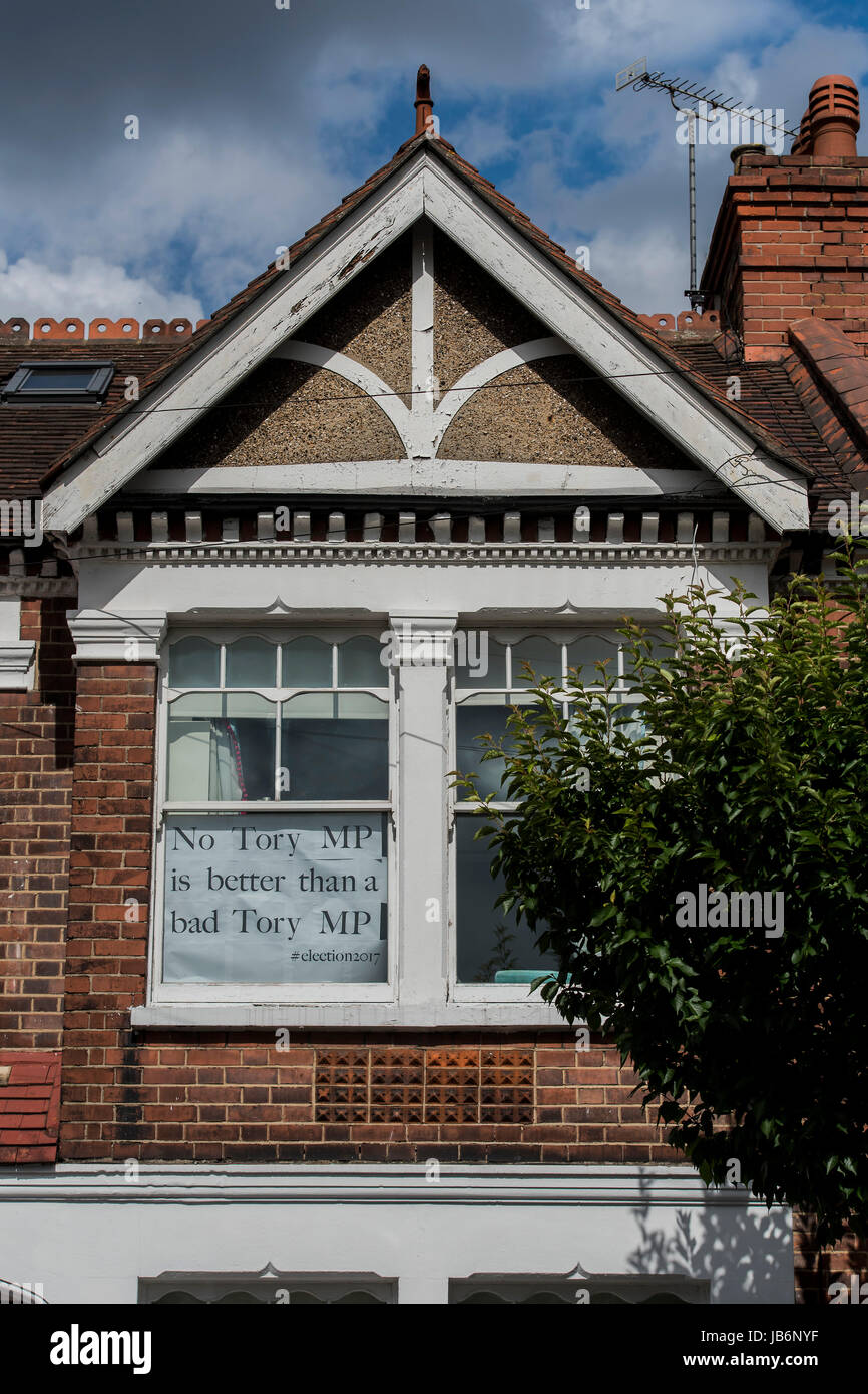 Battersea, London, UK. 9th Jun, 2017. Posters in a battersea flat window celebrate Jane Ellisons defeat - highlighting Stock Photo