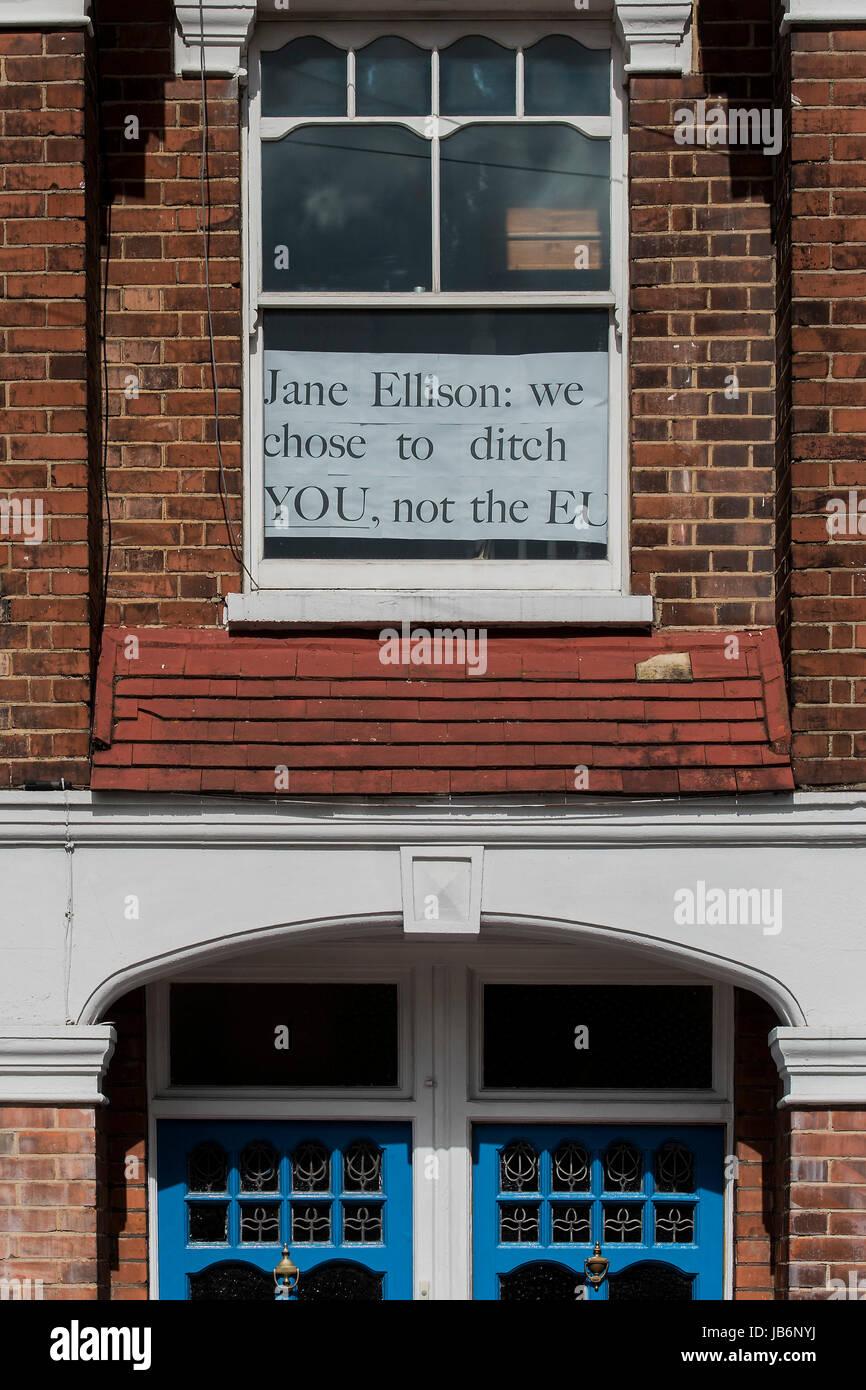 Battersea, London, UK. 9th Jun, 2017. Posters in a battersea flat window celebrate Jane Ellisons defeat - highlighting Stock Photo