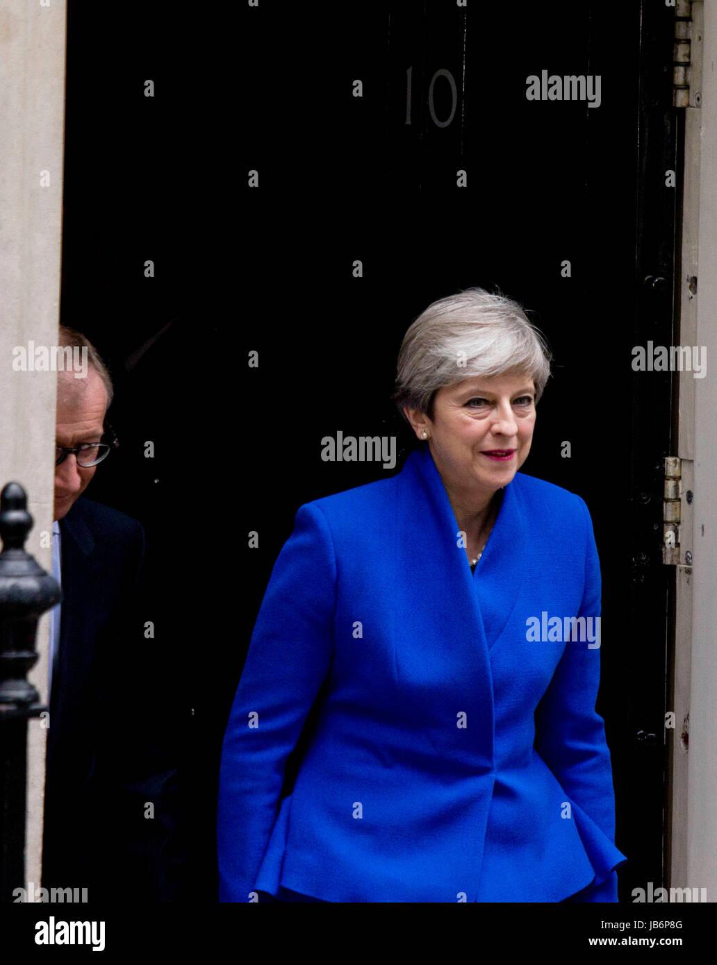 London, UK. 9th Jun, 2017. Theresa May post-election statement, No. 10 Downing Street, London, UK. 09th June, 2017. Stock Photo