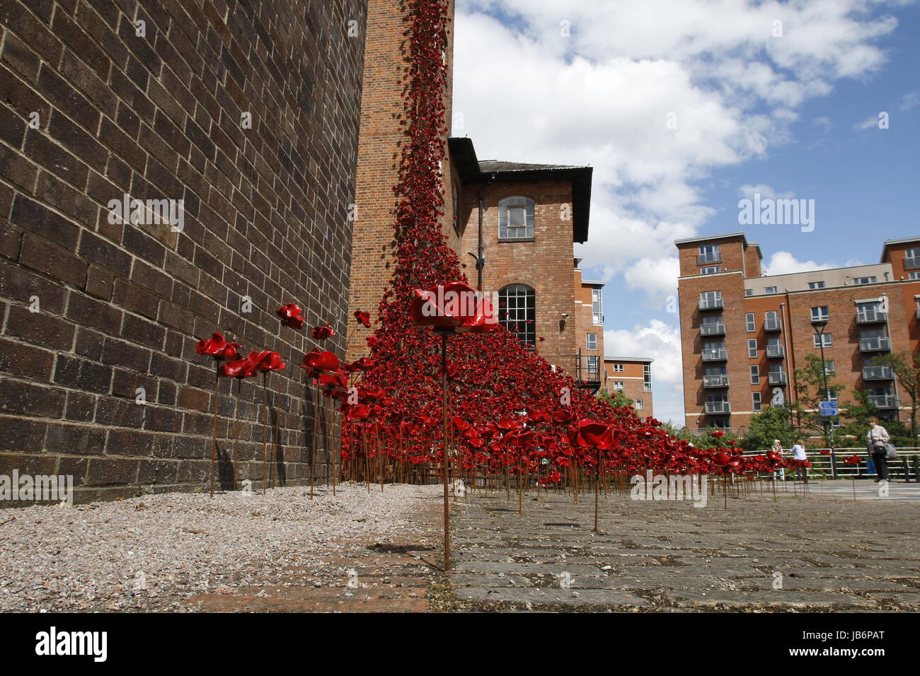 London, UK. 9th Jun, 2017. First full public display of the Weeping Window poppy display at Derby Silk Mill Tower. - Stock Image