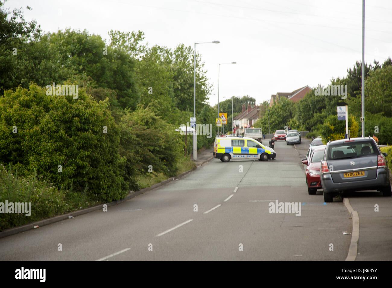 walsall, uk. 09th june, 2017. car crash leaves man seriously injured